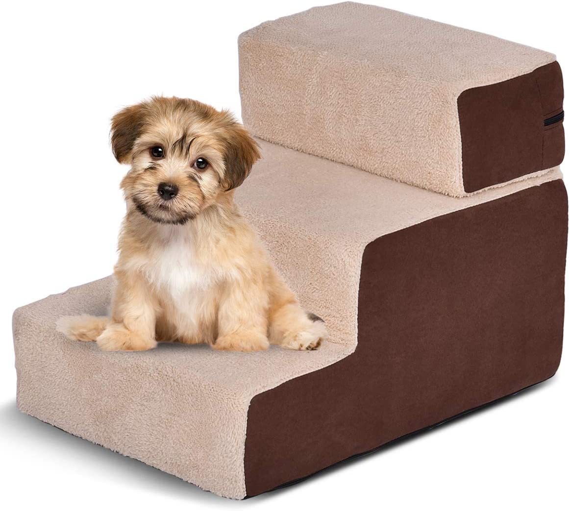 Giantex Dog Steps 3-Step Soft Dog Stairs Ramp Portable Cotton Pet Steps Home Stairs, Best for Dogs and Cats, Brown