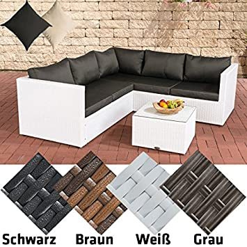 Rattan lounge grau weiß  CLP Poly-Rattan Lounge-Set LIBERI, Aluminium-Gestell (3er Sofa + ...