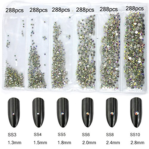 Crystal Ab Stones - 1728pcs Spangle Nail Art Rhinestones AB Nail Crystal Flat Back Circular Glass Studs Stones for 3D Nails Art Decorations Manicure Tools (1.3mm, 1.5mm, 1.8mm, 2.0mm, 2.4mm, 2.8mm (Crystal AB)