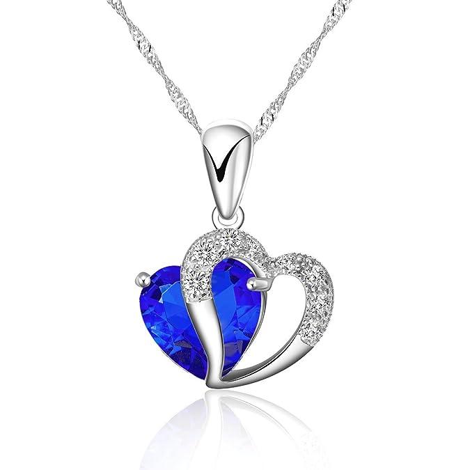 TEJ señorías Collar pendiente del corazón Singapur 925 plata esterlina 40 - 45 cm: Amazon.es: Joyería