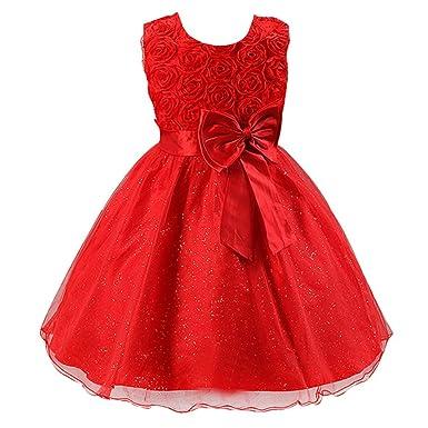 Free Fisher Robe Fille Princesse Mariage Cérémonie Fleur Dentelle Papillon ,rouge,4-5 76293dcfbc2