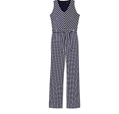 13b19c79cac Amazon.com  Banana Republic Blue and White Stripe Tie-Waste Jumpsuit (6)   Clothing