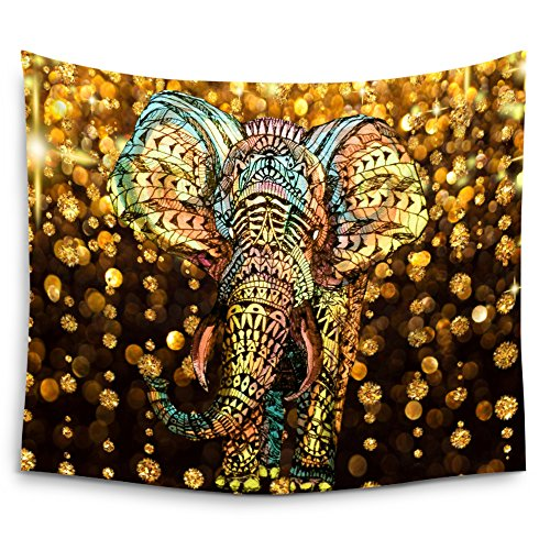 Deco Art Elephant (Mugod Elephant Tapestry Aztec Gold Elephant with Gold Rain Shine Flicker Glow Jewelry Stones Light Wall Hanging Tapestry - Polyester Fabric Wall Art Tapestries Home Decor - 60