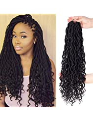 "3Pcs/Lot 20"" Goddess Faux Locs Deep Curly Faux Locs Crochet Twist Hair Wavy Faux Locs with Curly Ends Synthetic Braiding Hair Extension 24roots/pack (#1B)"
