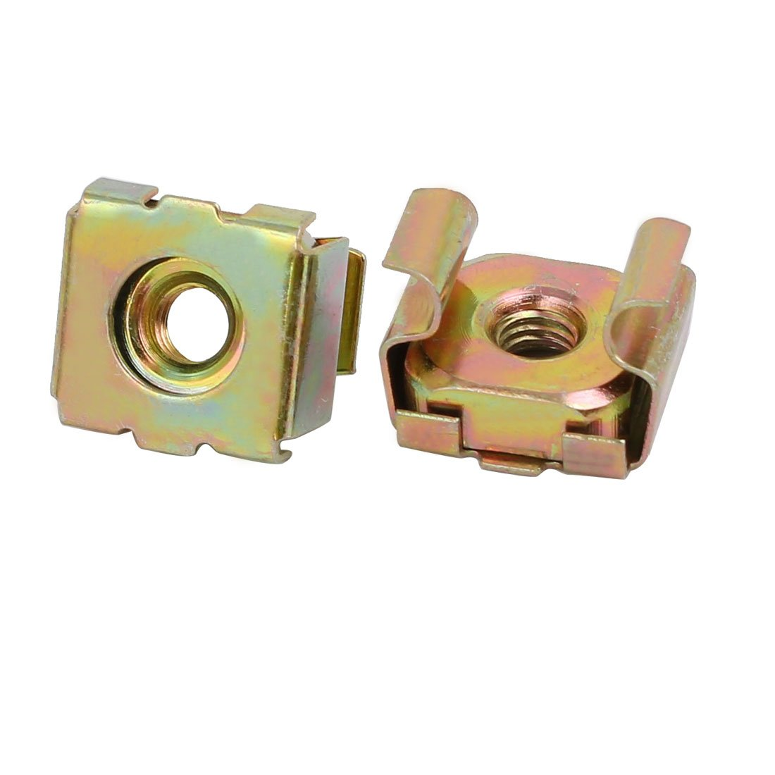 Sourcingmap/® 20pcs M4 Carbon Steel Captive Cage Nut Brass Tone for Server Shelf Cabinet
