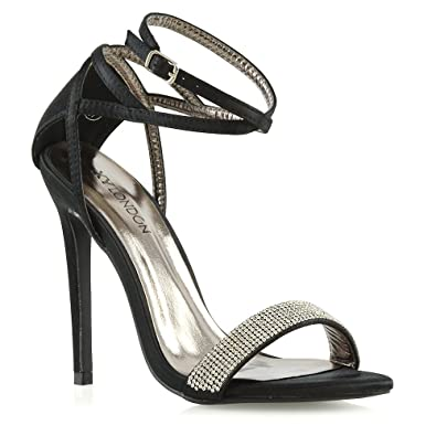 aa273f3dc Womens Stiletto High Heel Diamante Sandals Ladies Satin Open Toe Strappy  Bridal Party Prom Shoes Size