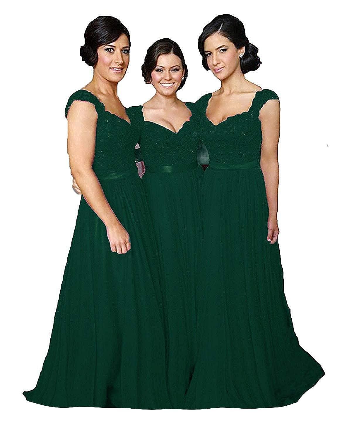 Dark Green Fanciest Women' Cap Sleeve Lace Bridesmaid Dresses Long Wedding Party Gowns