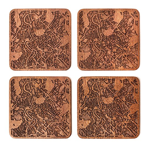 - Rome Map Coaster by O3 Design Studio, Set Of 4, Sapele Wooden Coaster With City Map, Handmade