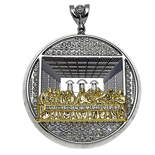 Bling Cartel Iced-Out Last Supper Pendant Silver with Gold Finish 2-Tone Charm Huge 4 Inch Round Hip Hop -