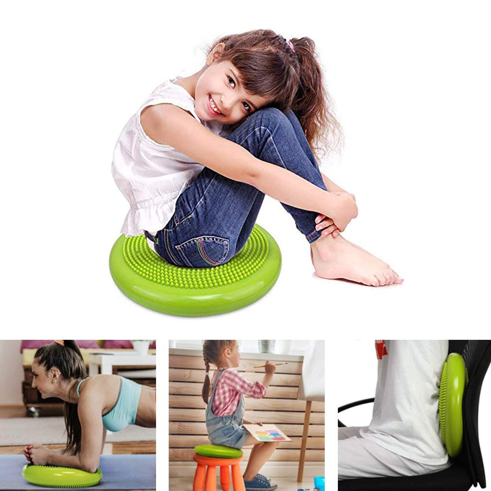 TECHMOO 13 Inch Air Stability Disc Inflated Stability Wobble Cushion Thick Core Balance Disc Exercise Fitness SportsOffice Home Including Free Pump Balance Disc Exercise Fitness for All Ages