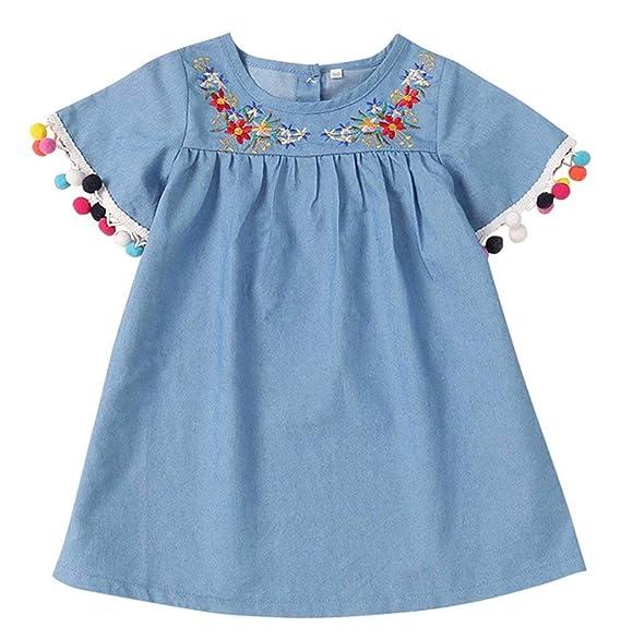 Amazon.com: uniqueone bebé niñas flores de verano bordado ...