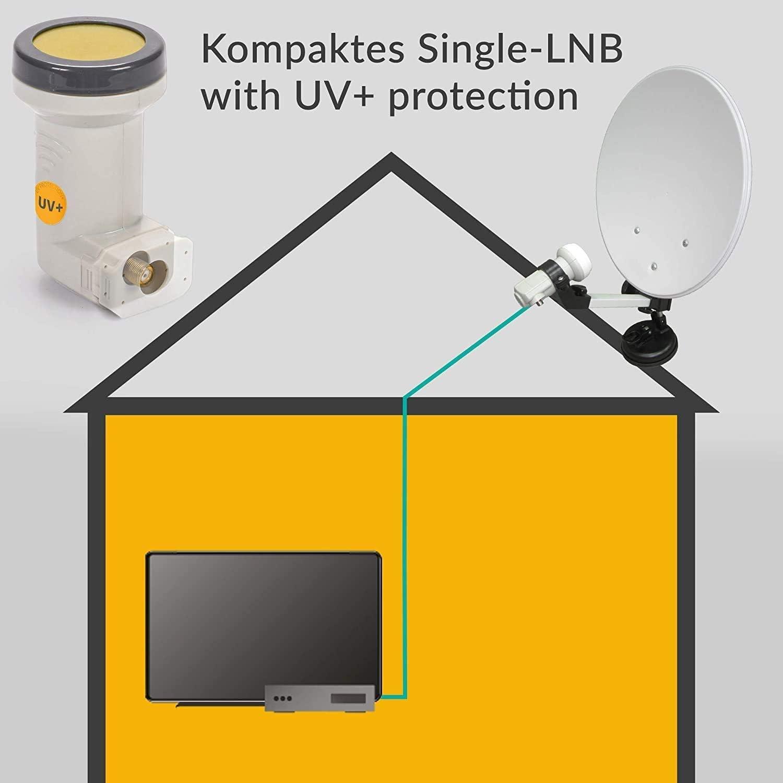 AX Mimic Sun Protect Digital Single LNB – 0,1 dB [ Test 2X SEHR GUT ] HDTV, 4K, UHD, Full HD