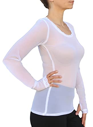 06d3303b875 Long Sleeve Sheer Power Mesh Top with Thumbhole Sleeve (Small 32-33, White.  Roll over image to zoom in. Ooh La La