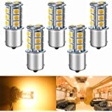 Qoope - Pack of 5-3000K Warm White 1156 BA15S 1141 1003 1073 7506 LED Bulbs 5050 18-SMD Replacement Lamps for 12V…