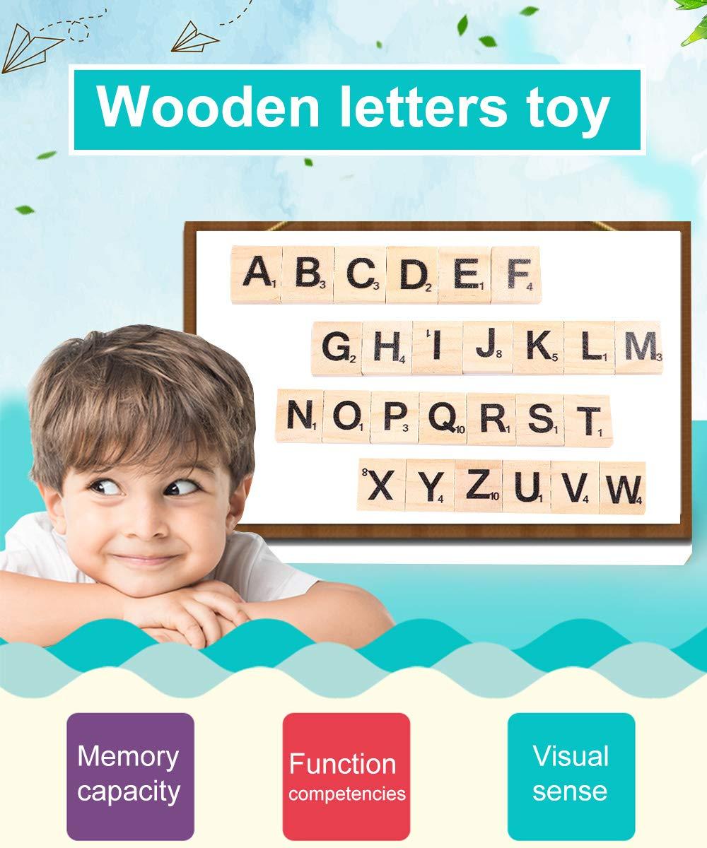 JoGoi 500PCS Letras Scrabble de Madera Alfabeto A a Z para Manualidades DIY Decoraci/ón educaci/ón Infantil Palabras en ingl/és para ni/ños Juegos Azulejos Scrabble