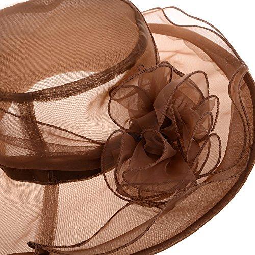 Vbiger Women's Summer Flat Large Wide Brim Gauze Kentucky Derby Sun Hat (Brown)