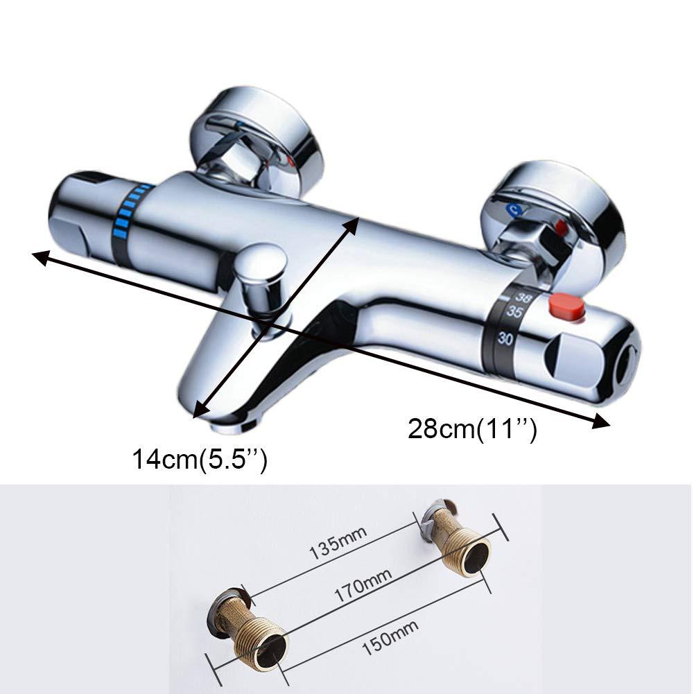 Xy0205 anti-br/ûlure thermostatique apparent de douche avec bec de baignoire Mitigeur douche thermostatique Chrom/é moderne Baignoire Mitigeur douche robinet