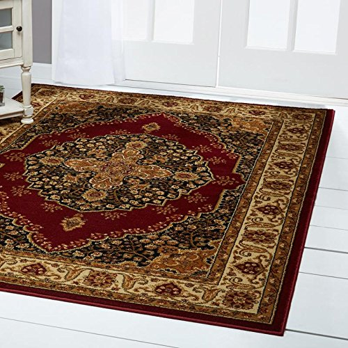 Home Dynamix Royalty Tansy Area Rug | Traditional Dining Room Rug | Classic Boarders and Medallion Center | Persian-Inspired Pattern | Red, Ivory 7'8