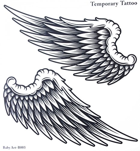 GRASHINE Waterproof and non toxic hot selling fashionable large Angel wings temporary tattoo sticker for women and man