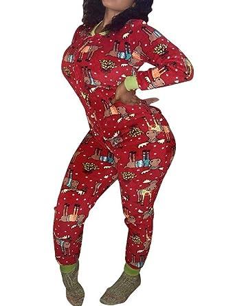 74615af375772 Frecoccialo Sexy Combinaison Pyjama de Nuit Femme Imprimé Motif Noël  Grenouillère Femme à Manches Longues avec