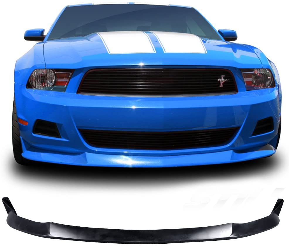 S Style PU Black Front Lip Spoiler Splitter by IKON MOTORSPORTS 2011 Front Bumper Lip Compatible With 2010-2012 Ford Mustang V6