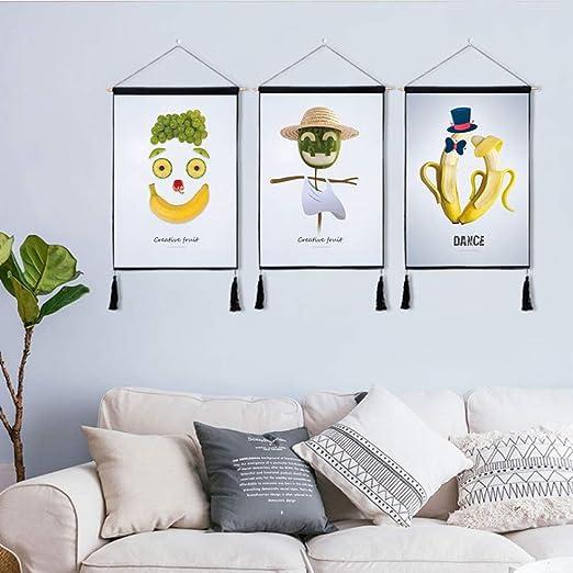 mmzki Fondo Decorativo nórdico Tela Colgante de Pared Fruta Creativa algodón Lino Pintura de Arte Tapiz V 46 * 65 cm * 3: Amazon.es: Hogar