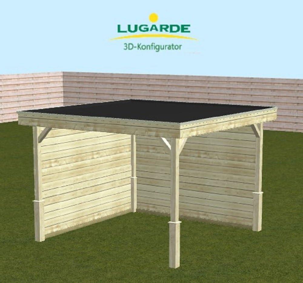 lugarde Cenador Tenerife de madera de abeto nuevo con tejado plano y postes de las esquinas: Amazon.es: Jardín
