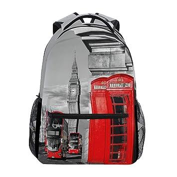 Wamika London Red Bus - Mochila Impermeable para teléfono Escolar, Mochila para Gimnasio, Big