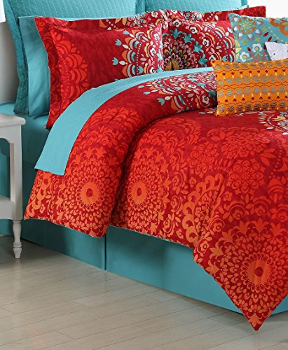 Ava Comforter Set (Fiesta 4 Piece Cozumel Comforter Set with Bed Skirt & 2 Pillow Sham, Queen)