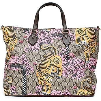 955f904f7b5 Gucci Bengal Tote Pink Shoulder Mixed Tiger Fabric leather Handbag Purse Bag  New