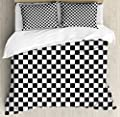 Checkered Duvet Cover Set by Ambesonne, Monochrome Composition with Classical Chessboard Inspired Abstract Tile Print, Decorative Bedding Set with Pillow Shams, Black White