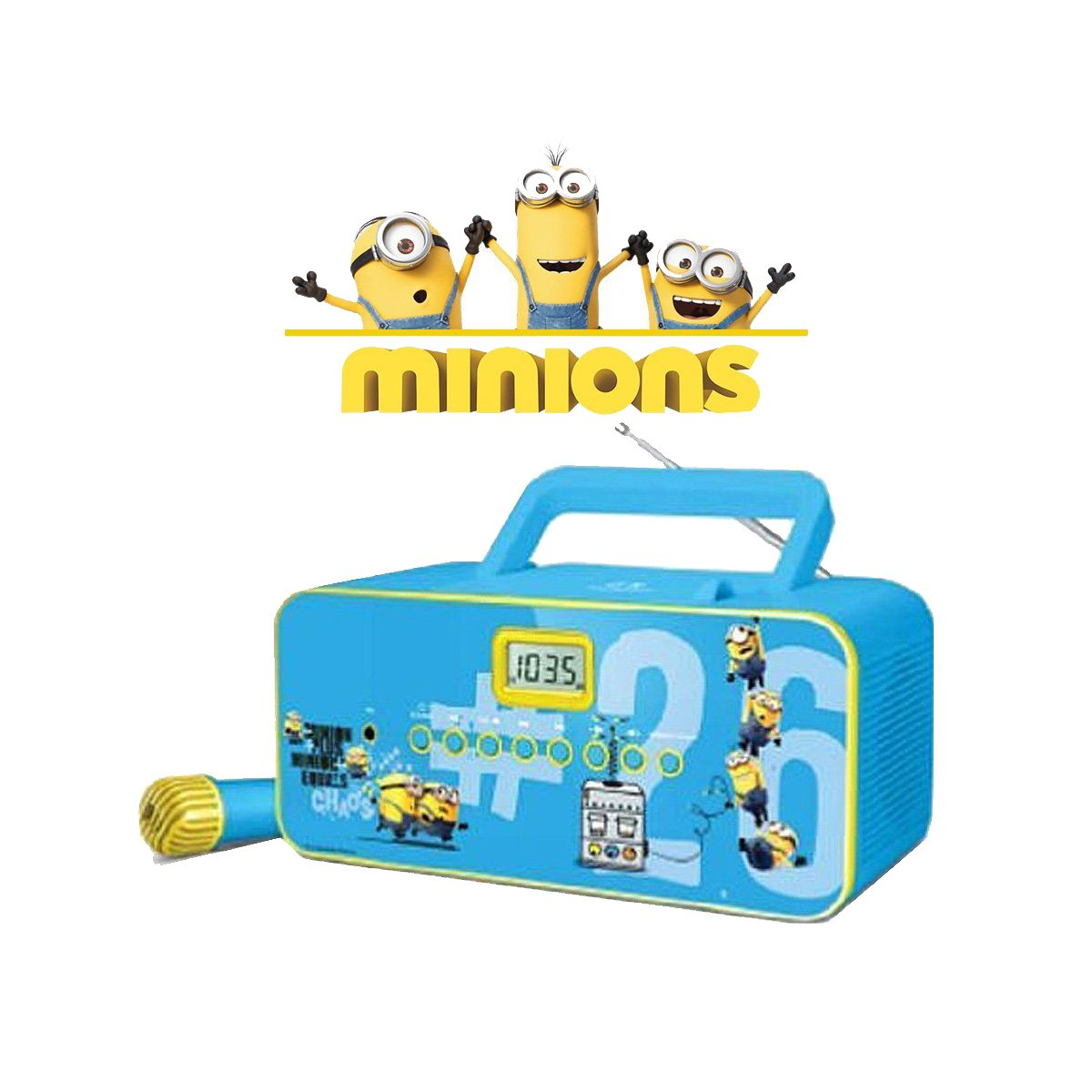 Minions Portable CD Player Sing Along Radio RD-3353M (Certified Refurbished)
