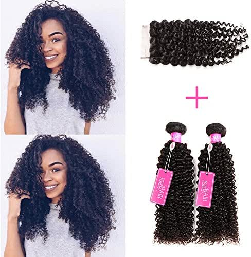 ISEE Hair Virgin Malaysian Deep Curly Jerry Curly Human Hair 3 Bundles With 4x4 Free Part Lace Closure,100% Unprocessed Human Curly Hair Extensions(14