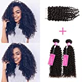 ISEE Hair Virgin Malaysian Deep Curly Jerry Curly Human Hair 3 Bundles With 4x4 Free Part Lace Closure,100% Unprocessed Human Curly Hair Extensions(10'&12'&14'with 8'closure)