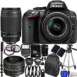 Nikon D5300 DSLR Camera(Black) International Version(No Warranty) w/DX NIKKOR 18-55mm f/3.5-5.6G VRII Lens + MORE. Three Lens 32GB 22PC Accessory Kit.