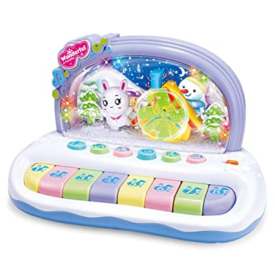 Yamart Baby Girls and Boys Toys,Baby Sound and Light Music Snowflake Small Piano Infant Educational Toys: Toys & Games