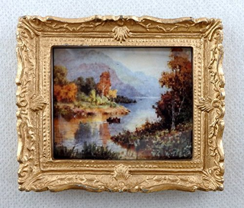 Melody Jane Dolls Houses House Miniature Accessory Scenic Scottish Loch Picture Painting Gold Frame