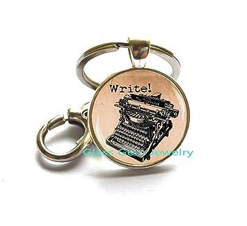 Old máquina de escribir llavero, llavero, diseño de máquina, Old máquina de escribir