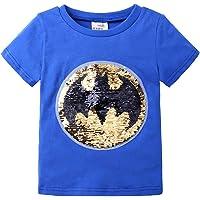 Flip Sequin Magic Camiseta de algodón de Manga Corta Camisetas Tops niños niños (tamaño 3-8)