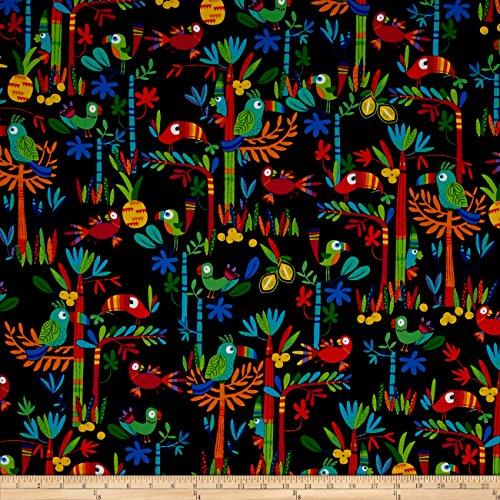 Benartex Kanvas Viva Brazil Birds Of Paradise Black Fabric By The Yard Bird Of Paradise Feathers