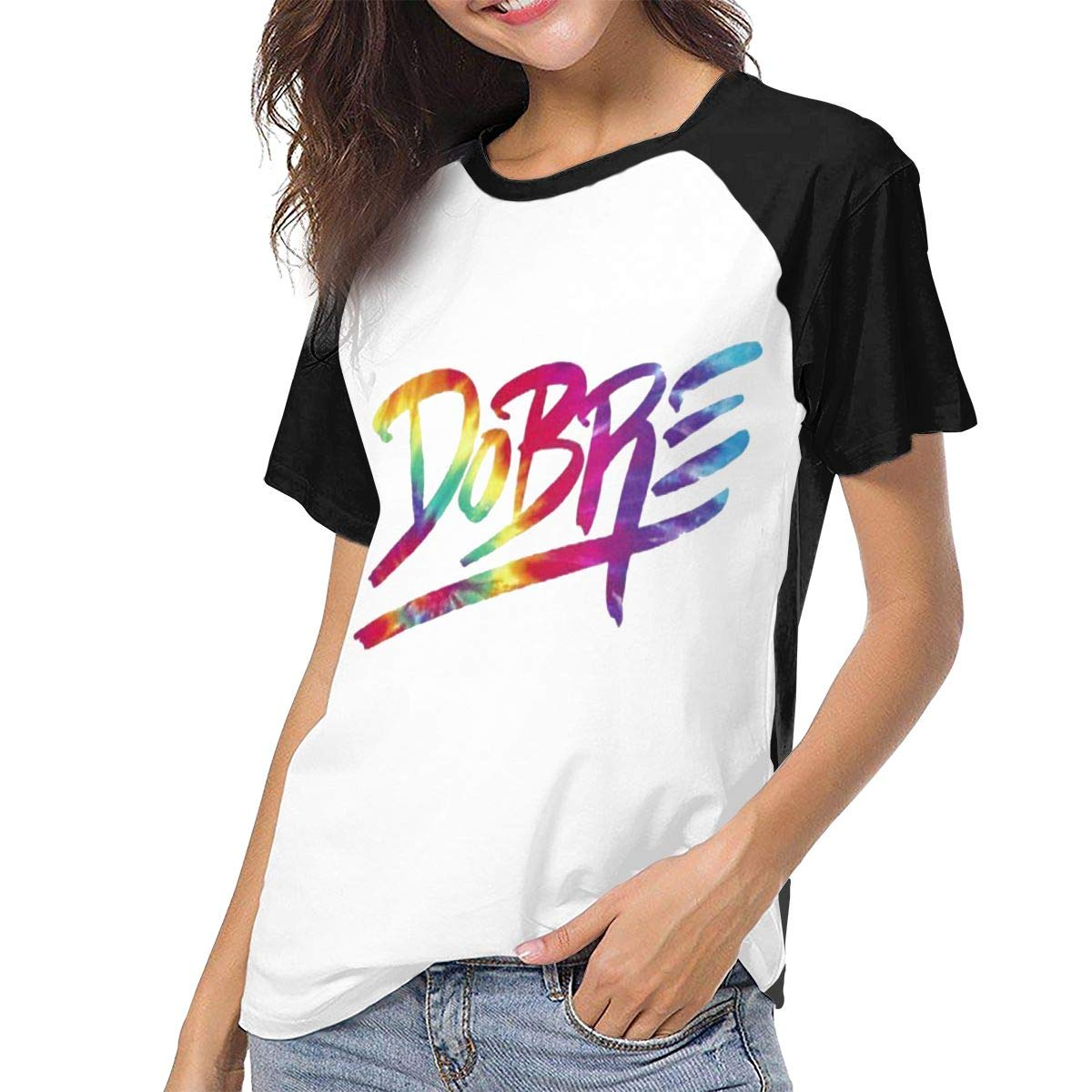 Women's T Shirt Dobre Brothers Tee Shirts Casual Cotton T-Shirt Short-Sleeve Round Neck Tshirt for Women Youth Girls Black S by BKashy