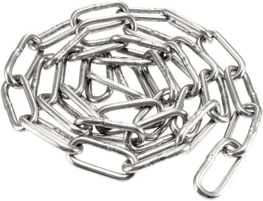 uxcell Stainless Steel 304 Hardened Proof Coil Chain 1m Length 3mm Thickness Zinc Plated