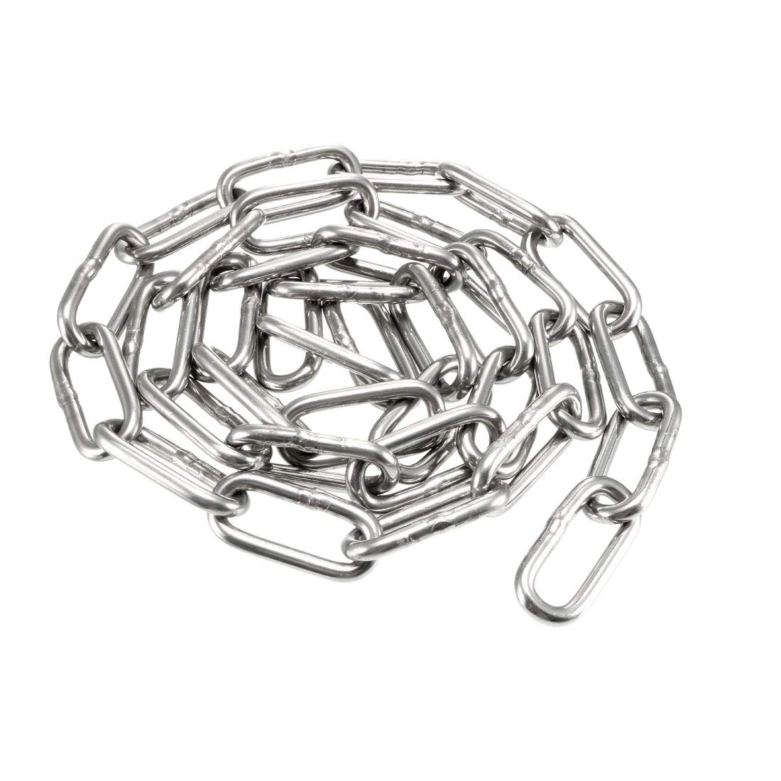 uxcell® Stainless Steel 304 Hardened Proof Coil Chain 1.5m Length 4mm Thickness Zinc Plated