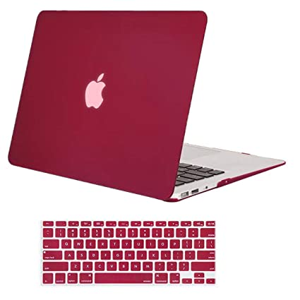 wholesale dealer 795b3 cd7cf MOSISO Plastic Hard Shell Case & Keyboard Cover Compatible MacBook Air 11  Inch (Models: A1370 & A1465), Wine Red