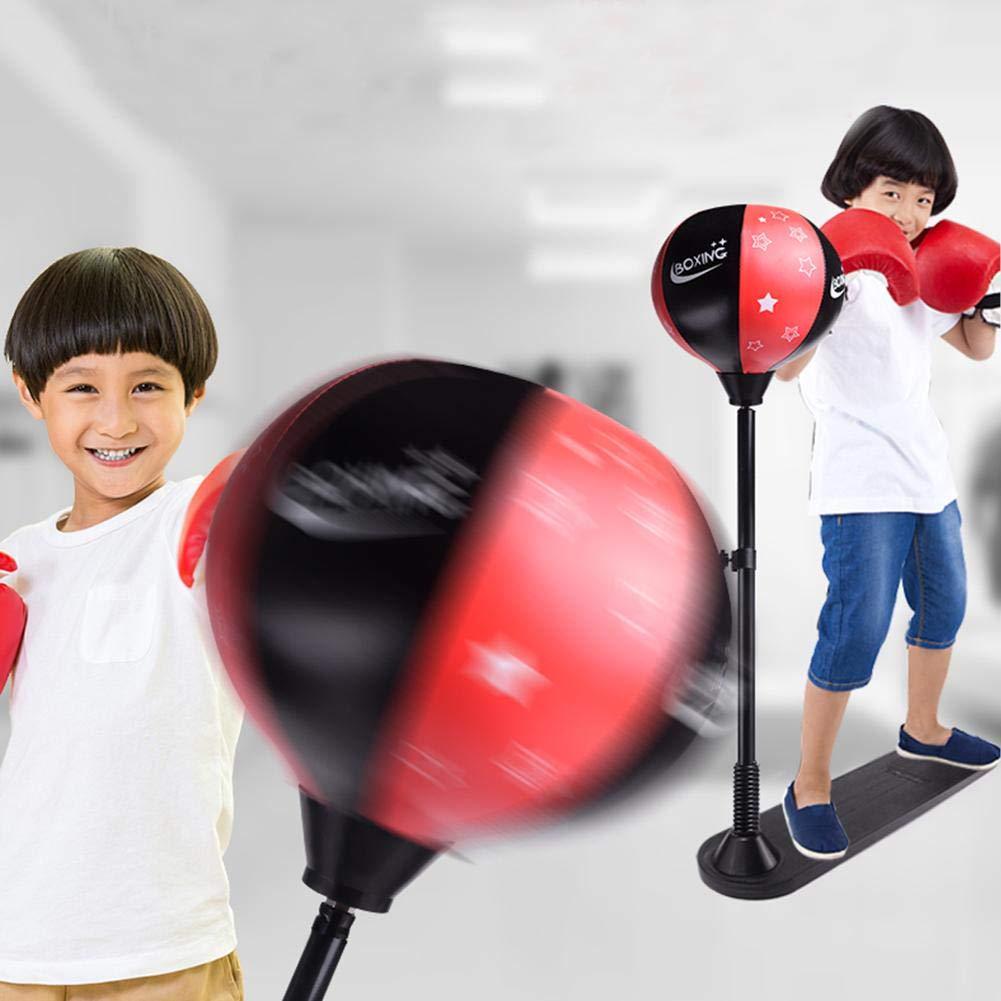 D.ragon Punching Ball Ensemble de Balle de Boxe avec Gants de Boxe, Pompe à Main et Support à Hauteur réglable Un Ressort Solide et résistant résiste aux Coups durs pour Le soulagement du Stress