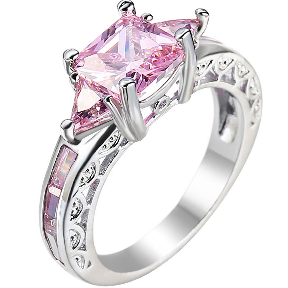 AONEW Womens Platinum Plated Square Triangle Pink Cubic Zirconia CZ Hollow Openwork Crystal Wedding Ring Szie 8