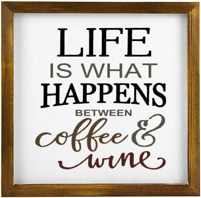 Generic Brands Life is What Happens Between Coffee and Wine - Targa in Legno Per Rustic Wood Framed Signs Hanging Farmhouse Wall Art Décor with Funny Saying for Home, Kitchen, Bathroom 12x12 inch