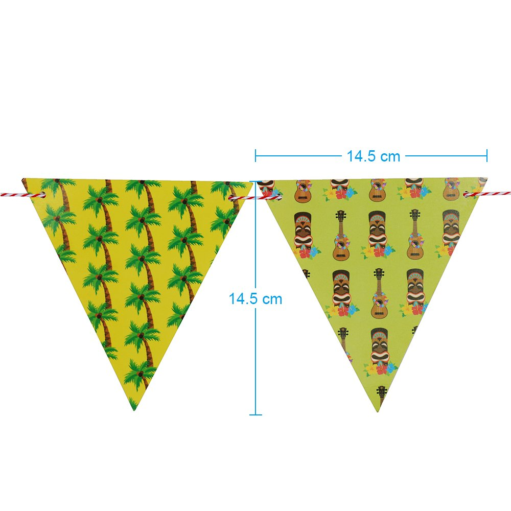 Home Decoration,Festivals Faburo 12 Pcs Hawaiian Bunting Banner for Parties