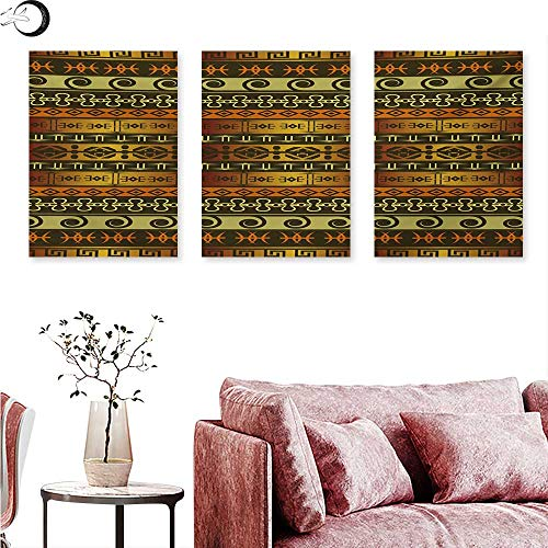 Mannwarehouse Zambia Digitally Printed Ethnic Ornamental Abstract Heritage Traditional Ceremony Ritual Image Triptych Wall Art Gold Dark Brown Orange W 20
