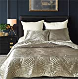Drefeel Luxury Quality Super Soft Quilted Bedspread Set 3 Pieces King Size 90 by 104 Inches - Hypoallergenic Silk Coverlet - Solid Comforter All Season,Silver Grey